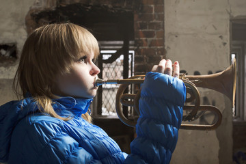 The young blonde with wind инстументом, Cornet