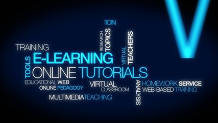 E-learning online tutorials education training tag cloud video