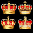 set gold  crowns on black background - 40327035