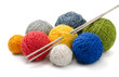 Color yarn balls and knitting needles - 40328234