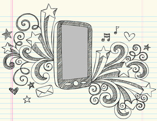 Mobile Cell Phone Sketchy Doodle Vector Illustration