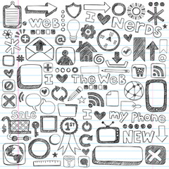 Web Doodles Sketchy Icon Design Elements Vector Set