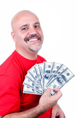 smiling man with $ 100 bills