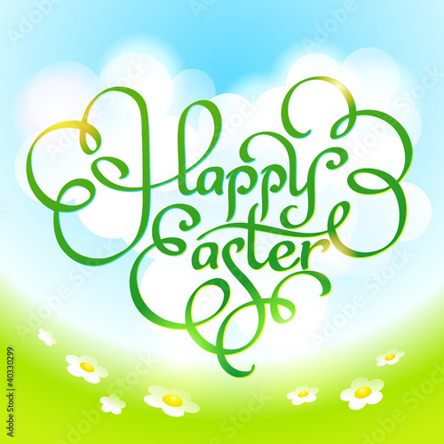 Easter card with calligraphic inscription. Vector illustration.