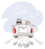Newlyweds in a car