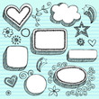 Speech Bubbles and Frames Sketchy Notebook Doodles Vector