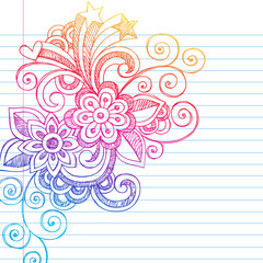 Flower Power Back to School Sketchy Notebook Doodles Vectot