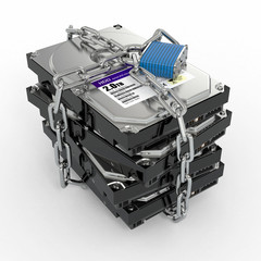 Protected hdd. Chain and lock on hard disk drive