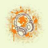 Vector illustation of headphones on  grunge background