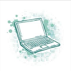 Hand-drawn laptop on grunge background