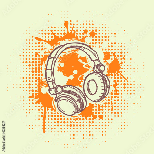 Vector illustation of headphones on  grunge background