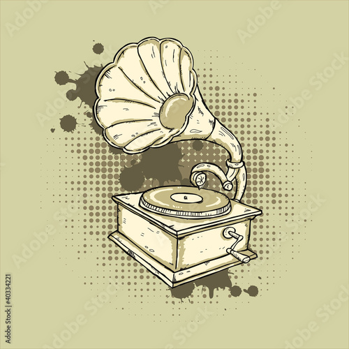 Hand-drawn gramophone on grunge background.