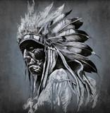 Tattoo art, portrait of american indian head over dark backgroun