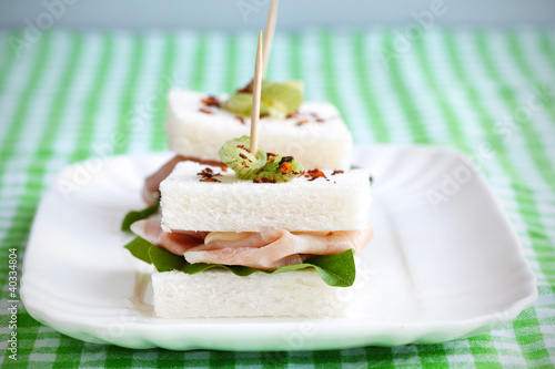 Sandwich with crustless bread and mortadella, tramezzino