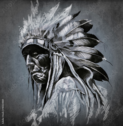 Tattoo art, portrait of american indian head over dark backgroun