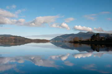 Derwent Water with mountain reflections ,Lake District ,England