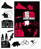 Switzerland picture and b-w hallmarks poster