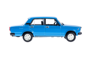 Blue family old car on white background.