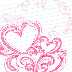 Sketchy Doodles Swirly Hidden Hearts Valentine's Day Love Doodle