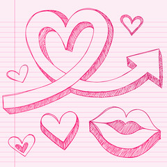 Heart Arrows Sketchy Doodle Vector Love Design Elements