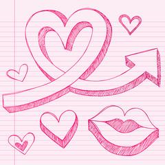 Heart Arrows Sketchy Doodle Vector Love Design Elements