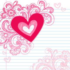 Heart Swirls Sketchy Doodle Valentine's Day Love Design