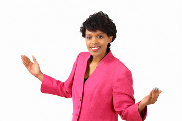 Smiling businesswoman gesturing - what do you expect?