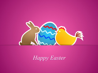Simple easter card with egg, chicken and rabbit-vector