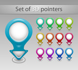 Collection of colorful Vector 3D pointers