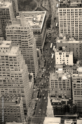 New York City Manhattan street aerial view black and white - 40338847