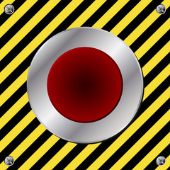 Red alert button over yellow and black surface