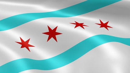 Chicagoan flag in the wind