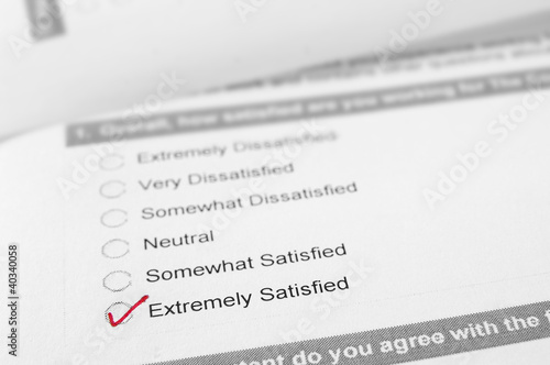 Customer satisfaction survey with Extremely Satisfied checked