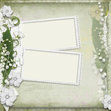 Vintage background with frame and white spring flowers