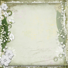 Vintage background with  white spring flowers