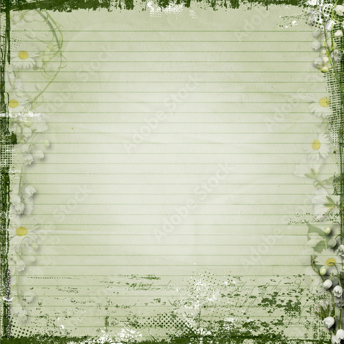 Grunge  background with  spring flowers