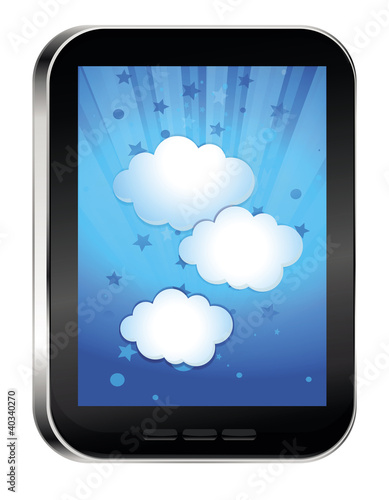 phone with cloud on touchscreen