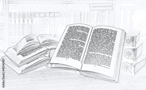 Book Pencil Drawing Pencil Drawing.some Books in