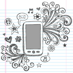 Cell Phone Mobile PDA Sketchy Doodles Vector Design