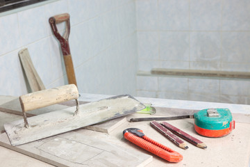 Tools used in a house renovation site