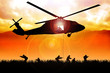 Leinwanddruck Bild - Helicopter is dropping the troops