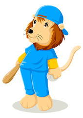 Cartoon illustration of a lion in baseball uniform