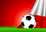 Vector illustration of a soccer ball with Poland insignia poster