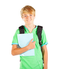 male teen student half length portrait isolated on white