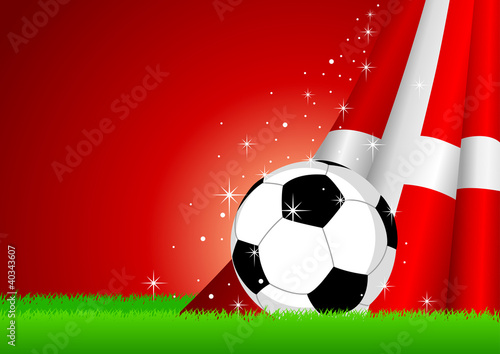 Vector illustration of a soccer ball with Denmark insignia