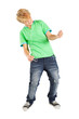 teen boy playing air guitar isolated on white