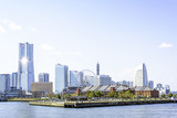 Scenic view of Yokohama marina across the water in Japan poster