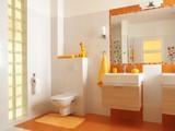 Colorful children bathroom with toilet - Fine Art prints