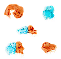 A collage of summer multi-colored scarves