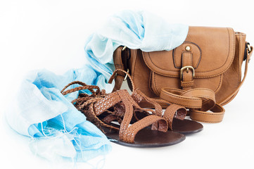 Summer shoes, bag andcote scarf